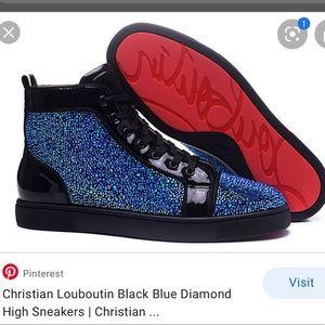 Louboutin blue diamond sneakers